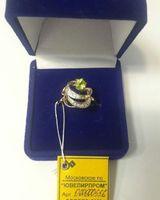 Очень красивое золотое кольцо 585 пробы с камнем Хризолит